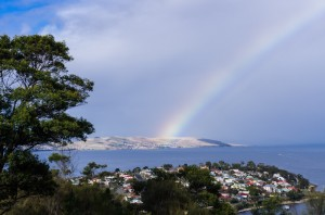 A rainbow at Rosny Park Lookout