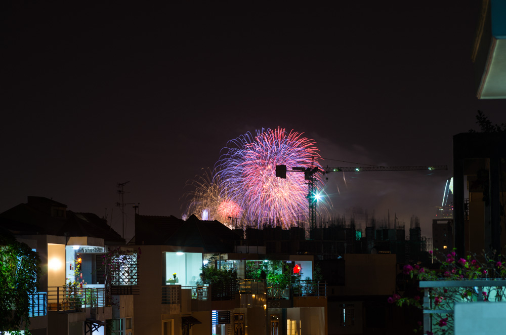 Tet Fireworks, Stark Tower on the right