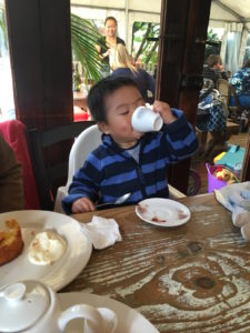 Enjoying a babycino at Ripe Cafe