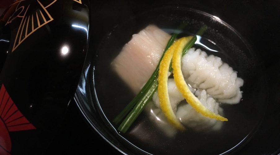 Kaiseki: Sea eel, mountain potato, spinach, and yuzu