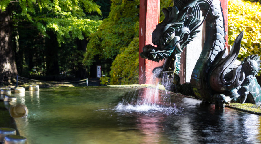 Fuji Sengen Shrine: Water breathing dragon