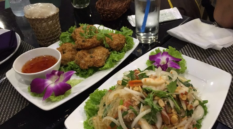 Thai fish cakes and salad