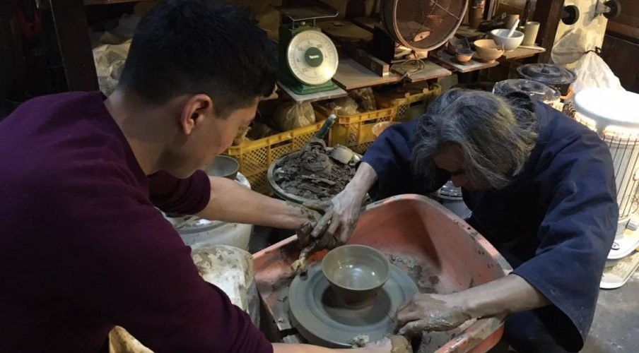 Pottery: Cutting the bowl