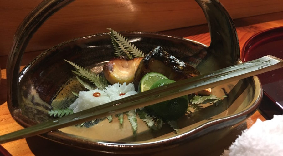 Kaiseki: Persimmon, crab, gluten, and a flower