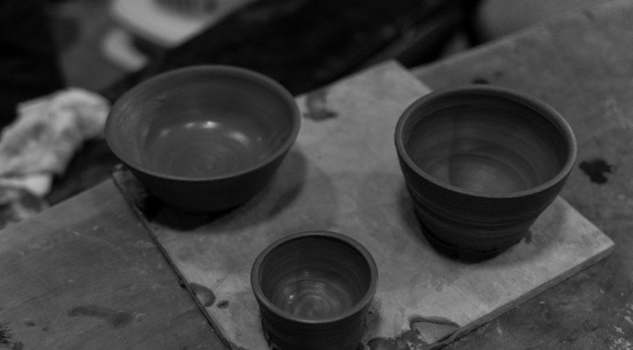 Kyoto pottery: Tea bowl, sake cup, all seasons bowl